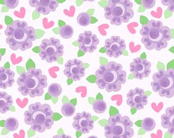 Riley Blake Lovey Dovey - Lilac Rose Flowers and Pink Hearts Floral Doodlebug Design Fabric - Lilac - Per 1/2 metre - 100% Cotton