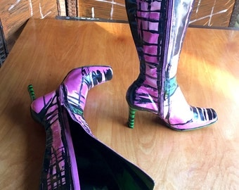 Boots, Hand Painted Boots, AKA Sorority Inc., Pink And Green, Movie Prop, Pink Boots, US Size 7, Mod Boots, Abstract Art Boots, Green Boots