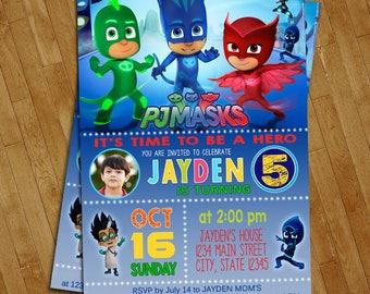 PJ Masks Invitations - PJ Masks Birthday Party Invitation - Digital File - Printable - Amaya/Owlette - Connor/Catboy - Greg/Gekko