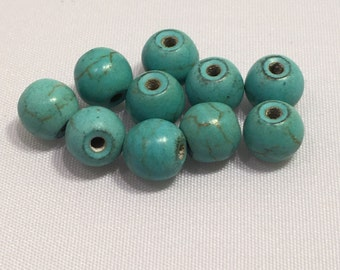 5 mm 10 pc Turquoise Dyed Howlite