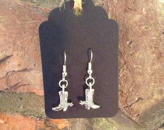Tibetan Silver Cowboy Boot Earrings