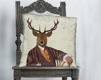 Stag pillow cover Deer cushion cover Deer Decor Deer pillow cover - Illustrious Deer - Stag Cushion cover Man cave décor living room pillow