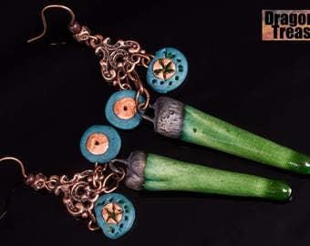 One of a kind ceramic and clay, blue, green and copper earrings