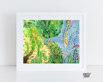 Art Print, Sea, illustration Art, Wall Decor, Nature Print , Fish, Art Prints, wall decor, 5 x 7, 8 x 10