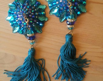 "Blue turquoise hues burlesque pasties, nipple tassels, nipple covers : The ""Ocean View"""