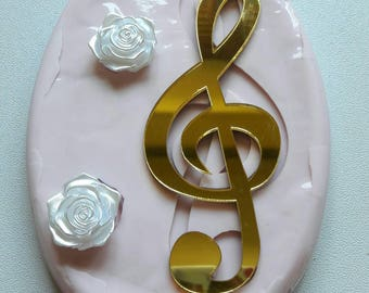 Silicone rubber mould cavity 3-treble clef-roses