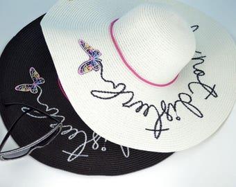 Trendy & Fabulous Do Not Disturb Summer Sun Hat Butterfly Floppy Women's Vacation Beach Hat