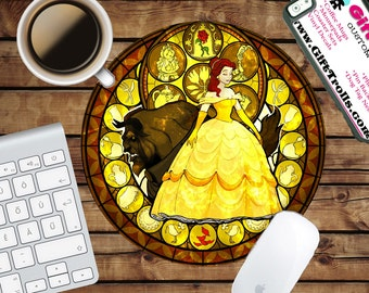 Belle - Beauty and Beast - Kingdom Circle Mouse Pad - Mousepad - CoWorker Teacher Gift