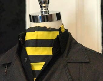 Stryper Cravat // Yellow and Black Stripes // Ascot