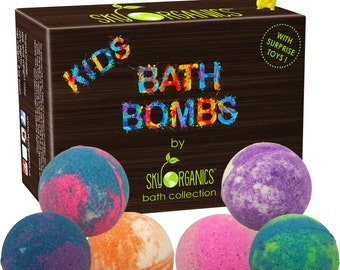 Kids Bath Bombs Gift Set with Surprise Pokemon Toy, 6x5oz Fun Assorted Colored , Kid Safe, Gender Neutral with Organic  Oils –Handmade Fizzy
