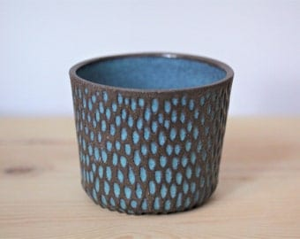 Carved Turquoise and Black Ceramic Planter –  Handmade Pottery Planter – Ceramic Succulent Planter – Stoneware Plant Pot