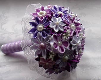 Purple and white/Wedding wedding bouquet brooch/Bridal Bouquet in satin/Wedding Bouquet kanzashi/satin/ribbon satin flowers