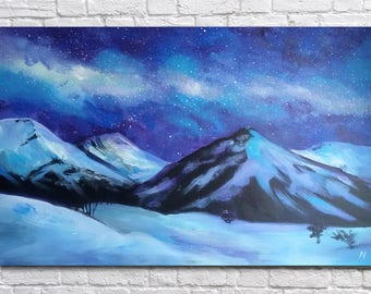 Milky Way Painting Night Landscape Mountains Original Acrylic Painting Large Painting Large Wall Decor Abstract painting