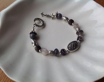 Bohemian Czech Crystal and tibetan silver beaded bracelet