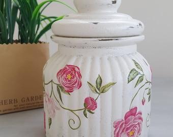 Glass Storage Jar - Decoupage Jar, Gift Idea, Decorated Jar, Shabby Chic Decor, Free Shipping