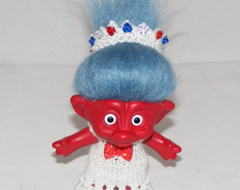 "3.5"" Troll Doll, Dyed Red, New White Eyes, Denim Hair, Dress, Panties, Crown"