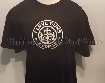 I Love Guns & Coffee Black T-Shirt - Size Medium - NEW