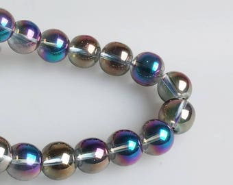 AB Blue Purple Clear Beads, Full Strand 15.5 inch, Round AB Beads, 4mm 6mm 8mm 10mm 12mm - B1823