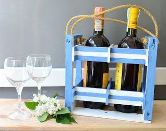 Wood wine holder, wine bottle storage rack, wine carrier case, wine tote caddy beach wedding cottage decor wine lover gift, wine crate stand