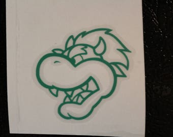 Bowser Head Outline Mario Old School Decal Any Size Any Colors