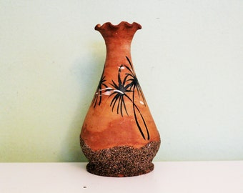 Vintage Studio Pottery Ceramic Vase, Sand Clay Art Pottery Vase, Sand Effect Vase
