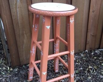 Hand-painted Texas Longhorn bar stool