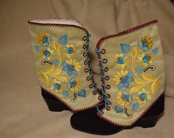 SPATS GAITERS Shoe Boot Covers Steampunk Victorian Flowers In Gold, Teal Blue, Maroon Shoe or Boot Spats