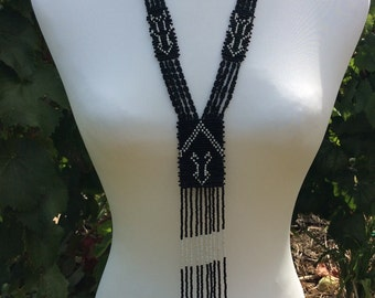 African seed bead black and white necklace woven long tassel