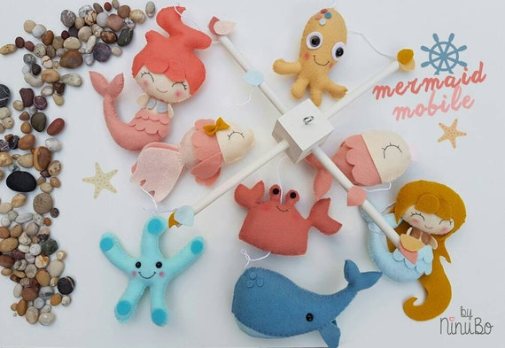 Mermaid baby mobile ocean baby mobile sea creatures by ninubo for Sea animal baby mobile