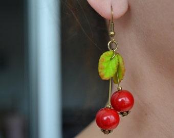 Handmade earrings cherries