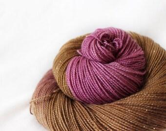Figgy Pudding - Magpie -  75/20/5 superwash merino/ nylon/ gold stellina sock yarn