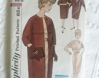 1960's Simplicity #4072, Women's Dress, Coat, and Scarf Size 16 Bust 38