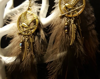 Boucles d'oreilles Fandom Hunger Games - The Mockingjay - or