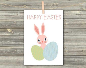 DIGITAL CARD Happy Easter rabbit pink green blue download card Greeting Card for girl baby kids card