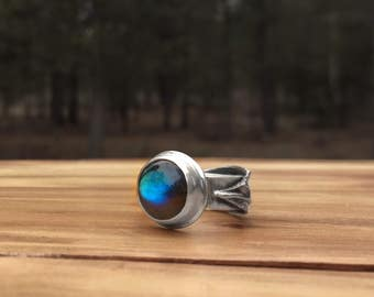 Primavera Collection: Labradorite + Sterling Silver Ring, nature, floral, botanical, statement, artisan, reclaimed, bloom, blossom, leaf