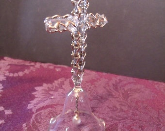 Hand blown Glass Cross Bell, (# 433/14)