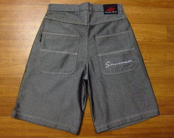 Sancezz shorts, vintage shiny metallic hip hop jeans, denim shorts of 90s hip-hop clothing, 1990s old school, OG, gangsta rap, size W 32