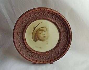 Antique Carved Wooden Small Round Picture Frame