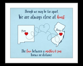 Gift for mom from son, gift for mother, long distance mother son gift, long distance christmas gift for mom, mother and son print