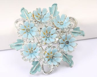 Signed ART Brooch with Blue Plastic Flower