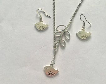 Silver Variable Length Little Bird  Necklace With Matching Earrings Hallmarked Sterling Silver on Ear wires  Comes On an 18 Inch Chain..