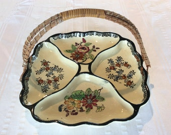 Vintage Japanese  divided condiment platter cookie plate Oriental cake plate
