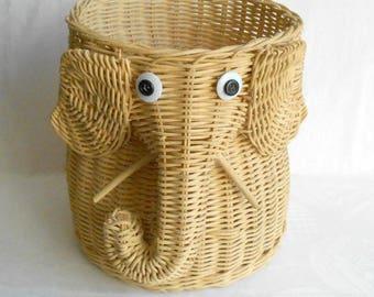 vintage wicker basket elephant / W. Germany / 1980s