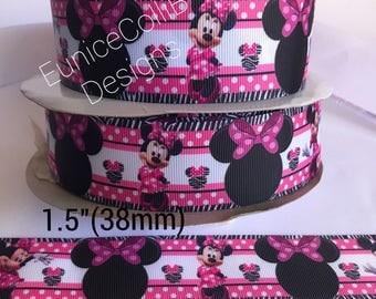 "1.5""Minnie inspired grosgrain ribbon."
