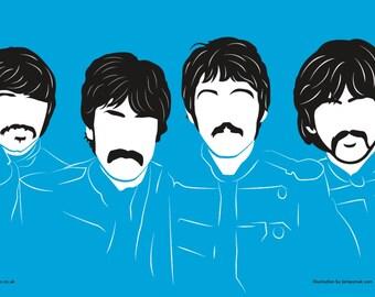 The Beatles Tea Towel John Lennon Paul McCartney Ringo Starr George Harrison