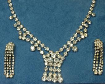 Vintage, 1960s, Diamante Necklace & Earrings (2431)