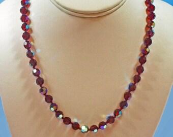 Vintage, Red Aurora Borealis Necklace (2781A)