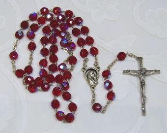 Vintage, Red Aurora Borealis Rosary Beads (SA028)