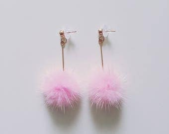 Baby Pink Pom Pom Earrings