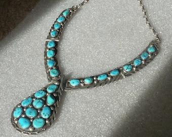 Vintage Bold Turquoise Necklace Signed JJ